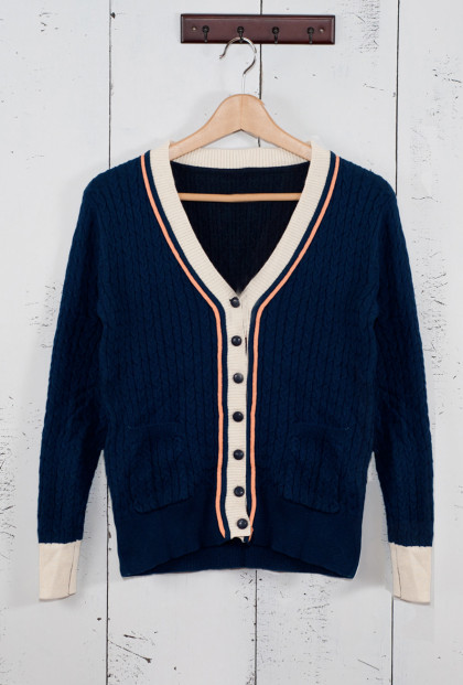 Preppy Contrast Trim V-Neck Cardigan