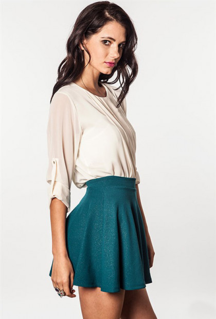 Shimmer Textured Skater Skirt in teal