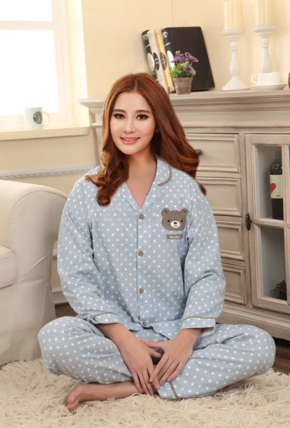 Blue Bear Polka Dot Print Vintage Pajama Set