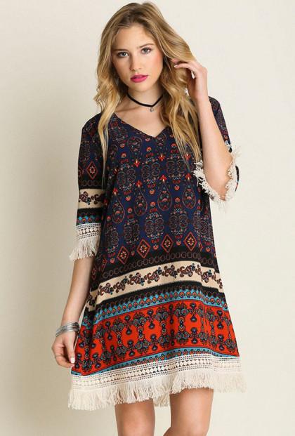 Boho Fringe Tribal Print Dress