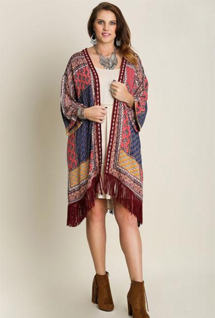 Boho Quilted Print Long Kimono