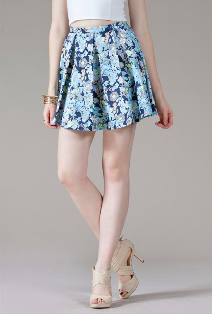 Pleated Floral Print Skater Skirt