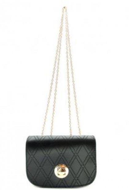 Purse - Sophisticated Confidence Lattice Detail Chain Strap Noir Purse