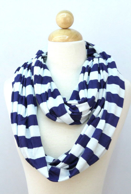 Scarf - Nautical Breeze Striped Navy Infinity Scarf