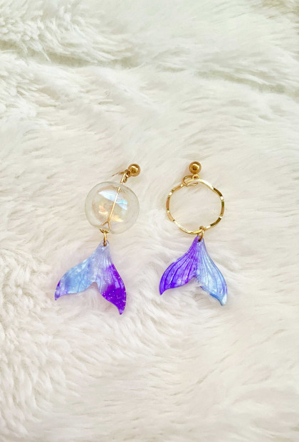 Bubble Tail Mermaid mismatched Earrings Set