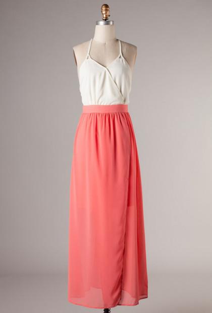 coral Surplice Halter Color Block Maxi Dress
