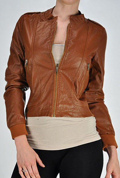 Camel Downtown Cityscape Faux Leather Jacket