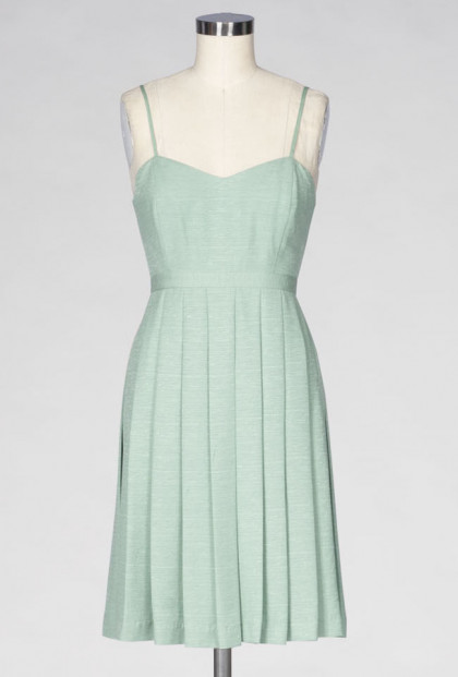 mint pleated sweetheart dress