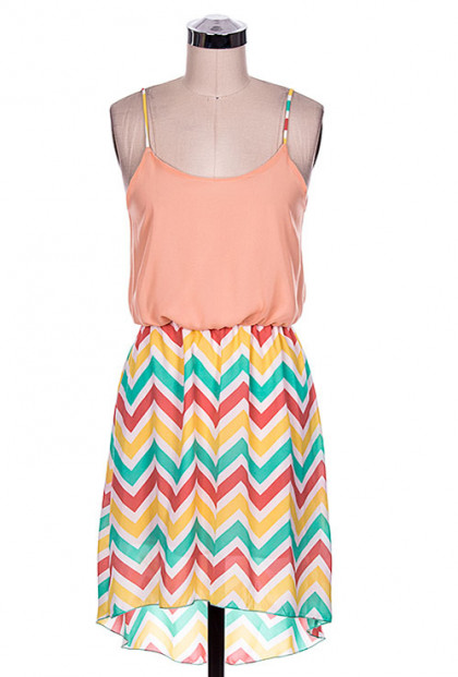Multicolor Chevron Contrast High Low Dress in Peach