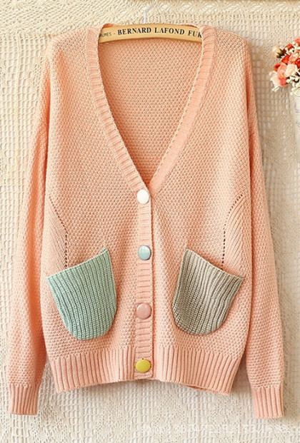 pink V-Neck Pocketed Knit Cardigan