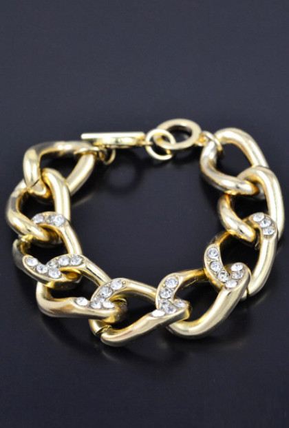 Bracelet - Chain Reaction Ribbon Chain Rhinestone Bracelet in Gold