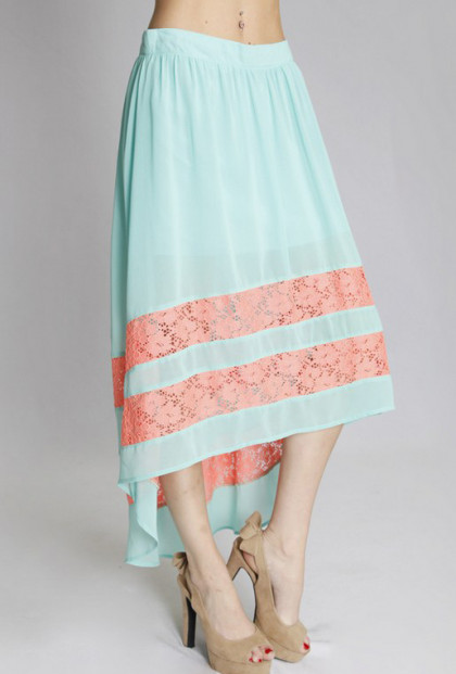 Lace Inset High Low Midi Skirt in Mint/Coral