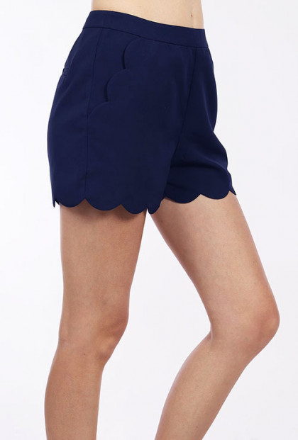 Navy Blue Scallop Hem High Waist Shorts