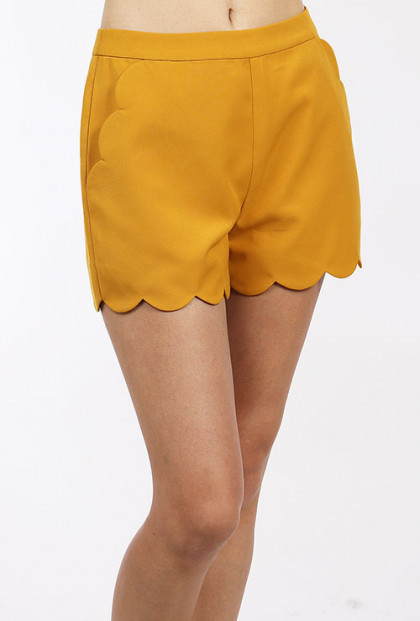 yellow high waist scallop shorts