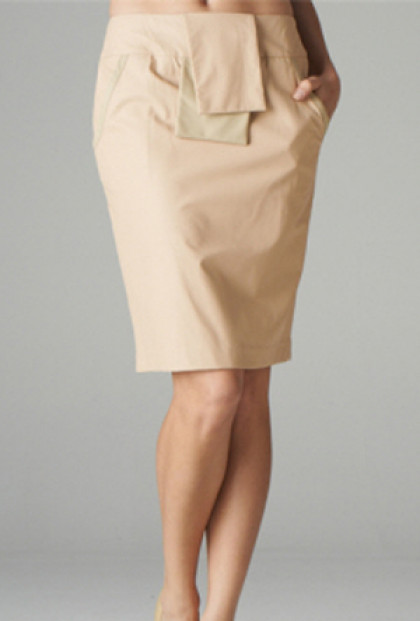 Flap Accent Leatherette Pencil Skirt in Blush/Beige