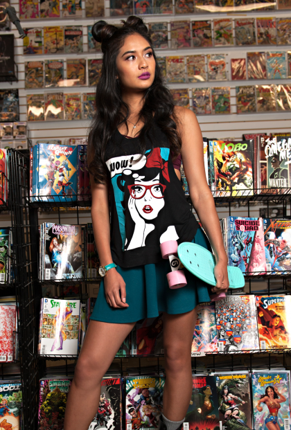 comic graphic tank top