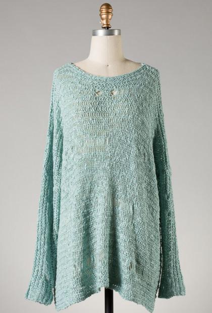 Distressed Mint Green Knit Sweater