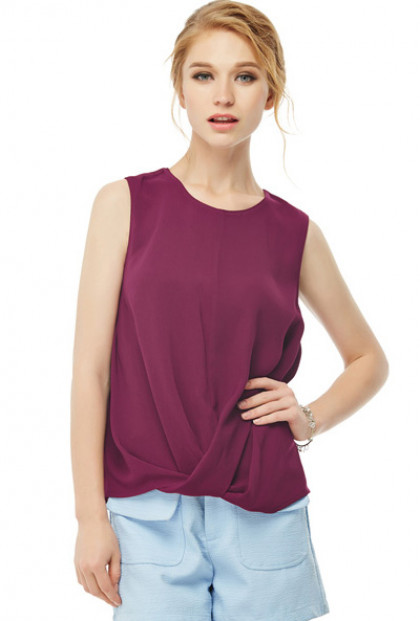 Twisted Hem Sleeveless Top in Wine