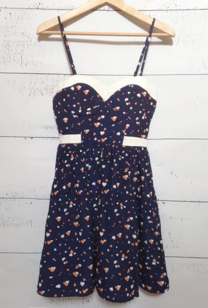 Sweetheart Heart Print Dress in Navy