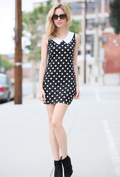 Cute Black Polka Dot Short Sleeve Mini Dress