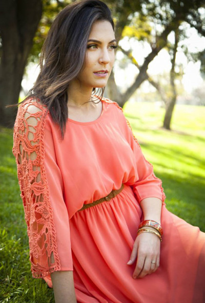 cute coral Crochet Sleeve Blouson Dress