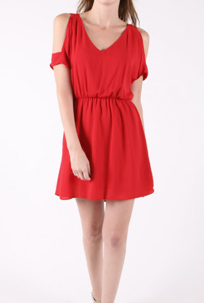 cute Cutout Shoulder V-Neck Dress