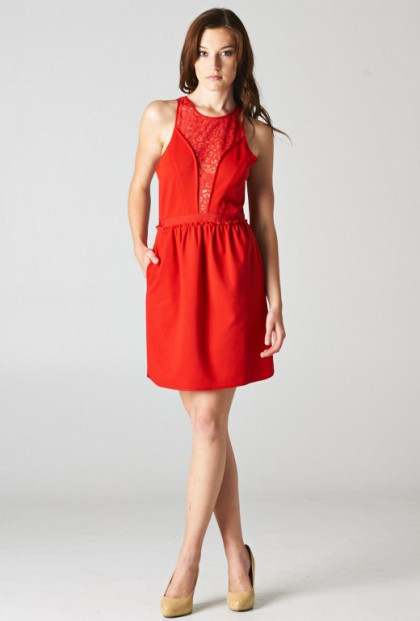 cute Red Lace Yoke Pocketed Sleeveless Dress
