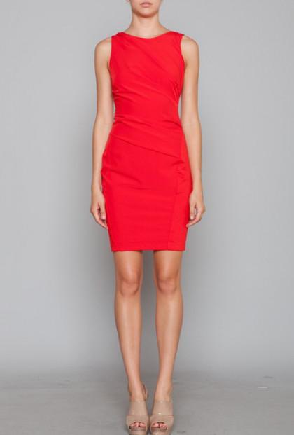 cute Red Gathered Shift Dress
