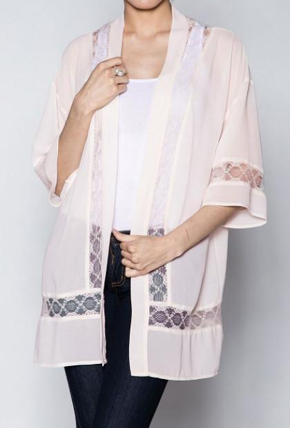 Lace Detail Kimono Cardigan