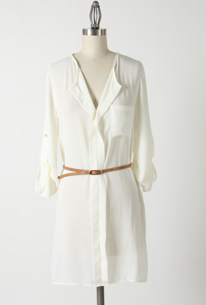 Deserted Island Belted Shirt Dress in Ivory