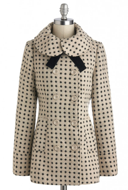Dot Print Coat with Velvet Neck Tie