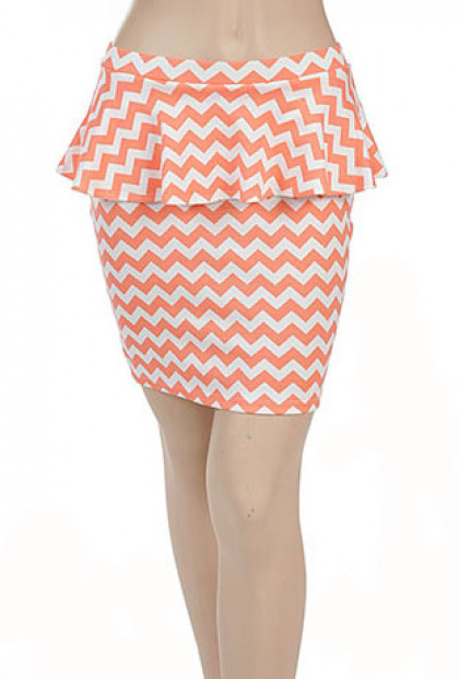 Chevron Print Peplum Skirt in Coral