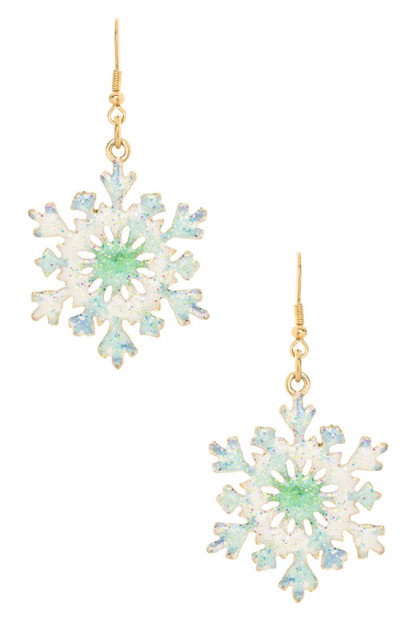 Let it Snow Enamel Snowflake Earrings
