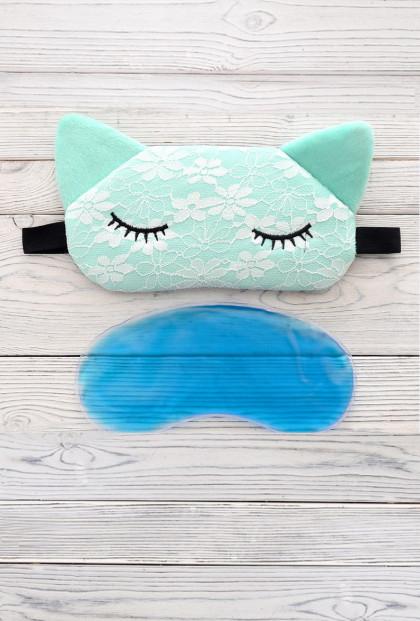 Sleep Wear - Feline Dreams Gel Pad Eye Mask in Mint