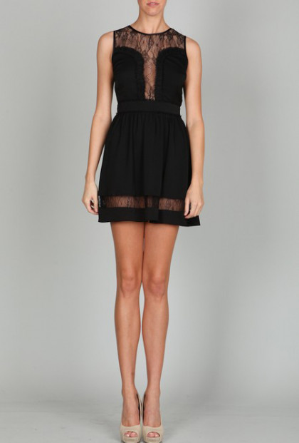 Lace Yoke Peek a Boo A-line Dress