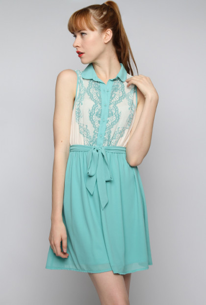 Lace Print Bodice Sleeveless Twofer Dress in Dusty Jade