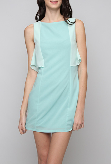 Contrast Ruffle Sleeveless Shift Dress in Light Blue