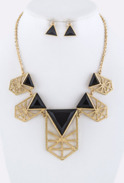 Necklace - Grand Scheme Geometric Statement Bib Necklace Gold