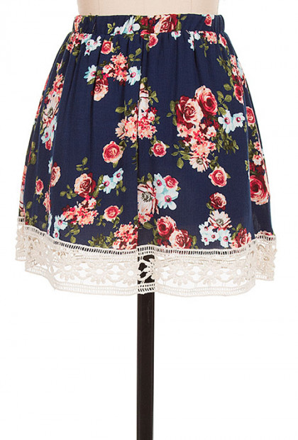 Navy Crochet Trim Floral Skater Skirt