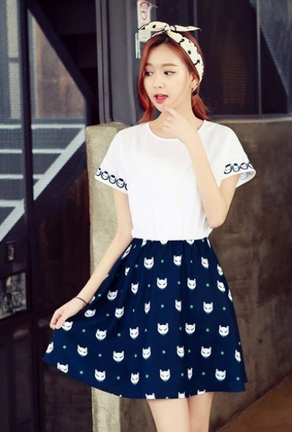 cute Cat Print Short Sleeve Swing Dress