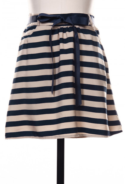 Striped Skater Skirt in Navy Blue/Beige