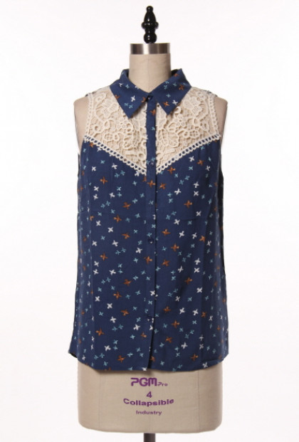 navy Bird Print Lace Yoke Sleeveless Blouse