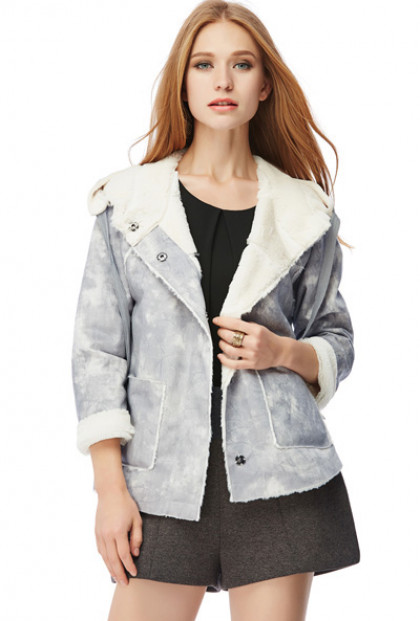 Gray Faux Suede Shearling Moto Jacket