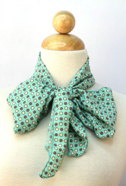 Ties That Bind Circle & Flower Print Mint Green Scarf