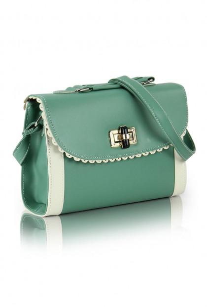 Vintage Scallop Lace Trim Two Toned Mint Green Handbag