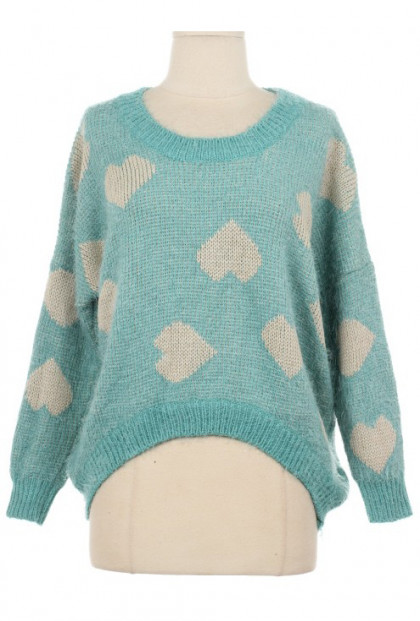 Sea Foam Heart Print Knit Sweater