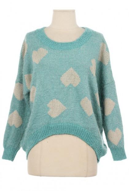 Sea Foam Heart Print Knit Sweater