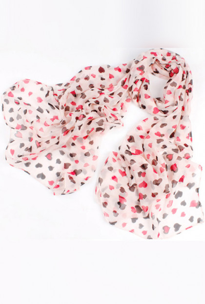 Pink Heart Pattern Chiffon Scarf in Pink