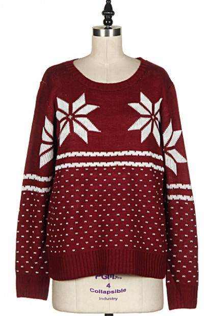 Snowflake Print Burgundy Knit Sweater