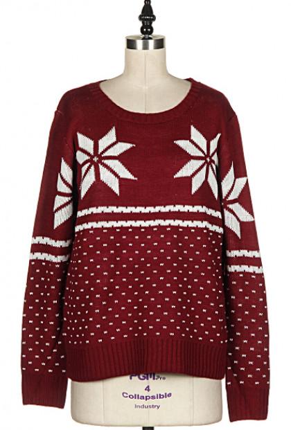 Snowflake Print Burgundy Knit Sweater